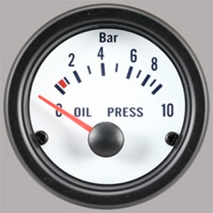 "Autogauge 2"" White Oil Pressure Gauge (PSI)"