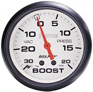 "Autometer 2-5/8"" Phantom Analog (5803) Boost/Vacuum, 30 in. Hg/30 psi"