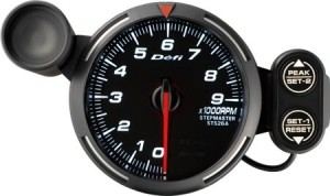 Defi Racer Series - 80mm Tachometer (White/Red/Blue)