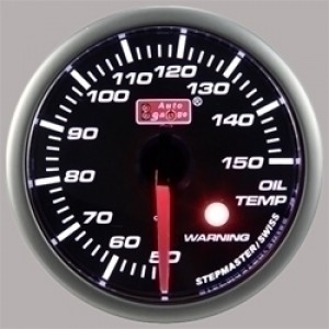 Autogauge Smoked 60mm Stepper Gauge - Oil Temp