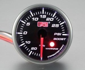 Autogauge Smoked 60mm Stepper Gauge - Boost (PSI)