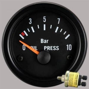 "Autogauge 2"" Black Oil Pressure Gauge"
