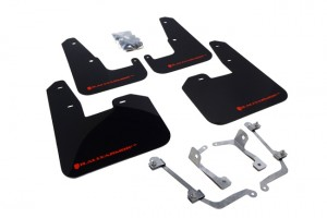 Rally Armor Mud Flaps - Subaru 2008-2014 WRX/STI Hatchback (Black/Red)
