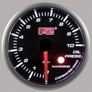 Autogauge Smoked 60mm Stepper Gauge - Oil Pressure (PSI)