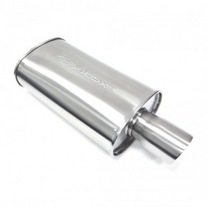 Blox Racing SL Sports Muffler - Brushed Silver with Double Walled Tip